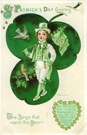 vintage Irish lad St. Patricks day greeting card with shamrocks birds and Irish flag