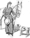 vintage lady and dog horse coloring page