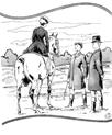 vintage lady with two gentlemen horse coloring page