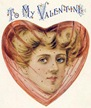 vintage pretty woman with heart shape border and hat with netting