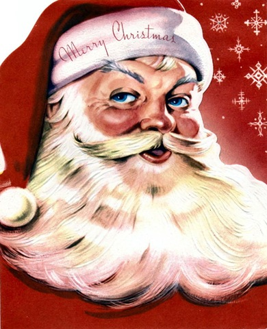 vintage santa claus with red background and stars free clip art - Free Santa Claus Pictures