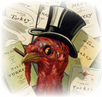 vintage Thanksgiving clip art turkey in top hat with restaurant menus