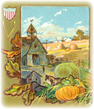 vintage Thanksgiving turkey with farm and harvest clip art