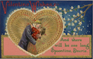 vintage valentine card kissing couple in ornate gold heart