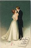 vintage Valentine card loving couple dancings