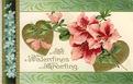 vintage Valentine clip art pink azaleas gold hearts green border
