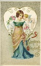 vintage Valentine Day cards pretty women in blue dress heart and flowers