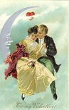vintage valentines day card couple in paper moon