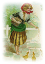 free vintage St Patricks Day clip art woman feeding ducklings