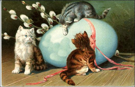 Free Vintage Easter Clip Art Blue Egg Pink Ribbon Three Tabby Kittens