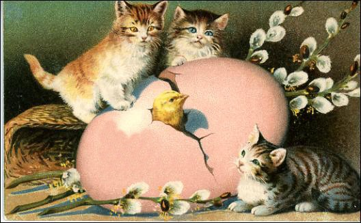 Free Printable Easter Greeting Cards: Vintage Cats and Kittens