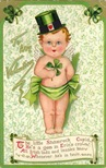 free vintage greeting cards St Patricks Day cute kids baby boy iin green diaper
