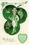 free vintage greeting cards St Patricks Day cute kids little boy in shamrock