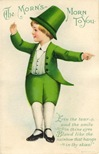 free vintage greeting cards St Patricks Day cute kids little boy with green outfit and hat