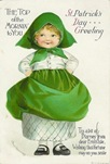 free vintage greeting cards St Patricks Day cute kids little girl with kerchief