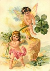free vintage greeting cards St Patricks Day cute kids two angels