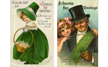 Free Vintage St. Patrick's Day Cute Kids Greeting Cards