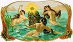 vintage nautical art three women swimming