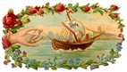 Free Fathers Day Cards--vintage ship with hand and roses