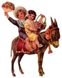 free vintage children clip art -- boy and girl on a donkey with flowers