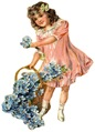 free vintage children clip art little girl in pink dress forget-me-nots