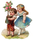 free vintage clip art mothers day litle boy and girl with pink rose bush
