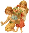 free vintage clip art mothers day two little girls with pink roses