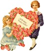 free vintage clip art mothers day victorian boy and girl with heart wreath pink roses