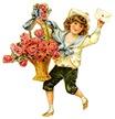 free vintage clip art -- sailor boy with large flower basket
