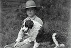 Father's Day card--black and white photo boy with dog