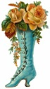 free vintage mothers day clip art turquoise Victorian boot with yellow roses
