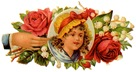 vintage children clip art little girl in flower border with womans hand