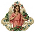 free vintage Christmas angel images pink gown holly border