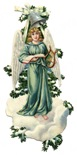 free vintage Christmas images -- angel on frozen pine tree branch