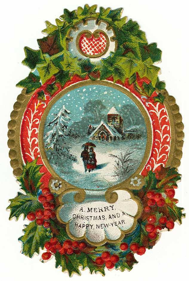 ... Free Vintage Christmas Images    Border Snow Scene