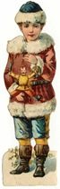 free vintage Christmas clip art -- little Victorian boy with presents