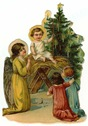 free vintage Christmas clipart -- angel with children and baby Jesus