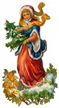 free vintage Christmas images -- woman carrying small pine tree